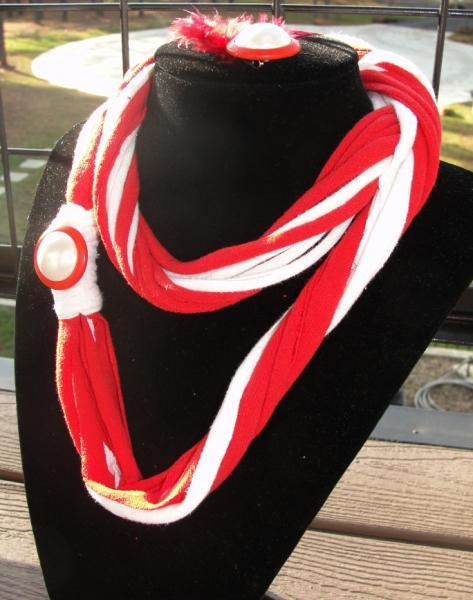 Peppermint Twist Tshirt Necklace Infinity Scarf Set