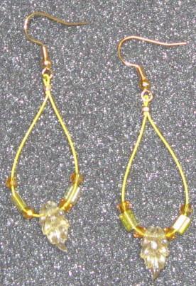 Golden Crystal Leaf Earrings