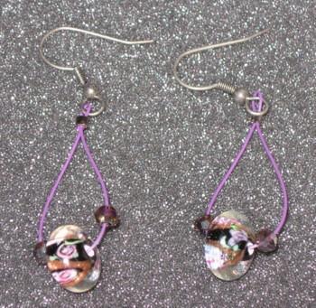 Purple Milifiori Dangle Earrings