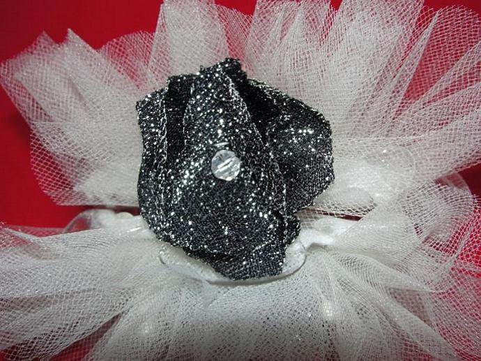 White and Black Sparkle  Claw Hairclip