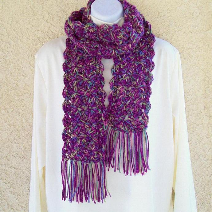 Winter Scarf, crocheted, chunky, 58 inches long - Ruby Red Medley