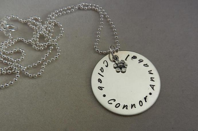 "CUSTOM- 1"" Sterling Silver Hand Stamped Circle Pendant - Hand Stamped Jewelry,"
