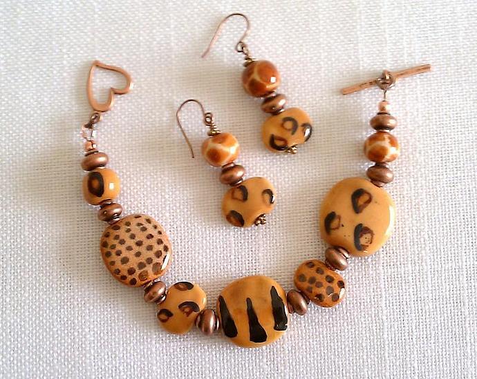 Kazuri Bracelet & Earrings Set, Item #378