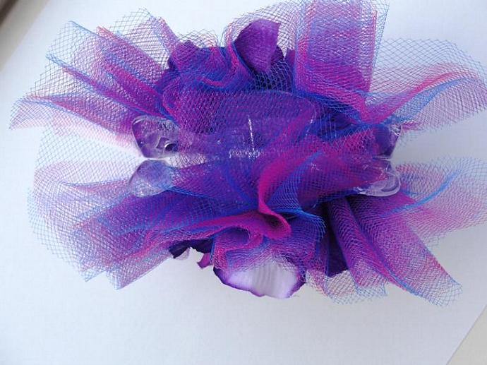 Purple Pansy Embellished  Claw Hairclip