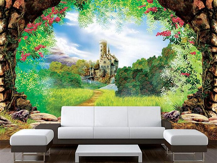 Sticker mural castle fairy tale fantasy princess by for Castle mural wallpaper