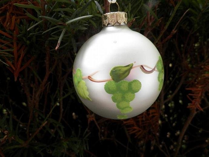 Grapes on a Christmas Ball Ornament