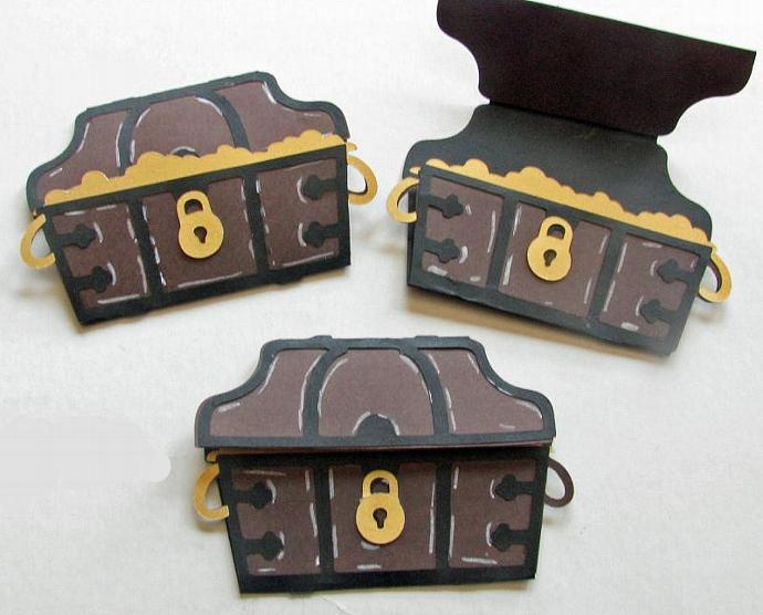 Pirates Treasure chests - 3 - Can be used for a Pirate Birthday Invitation-