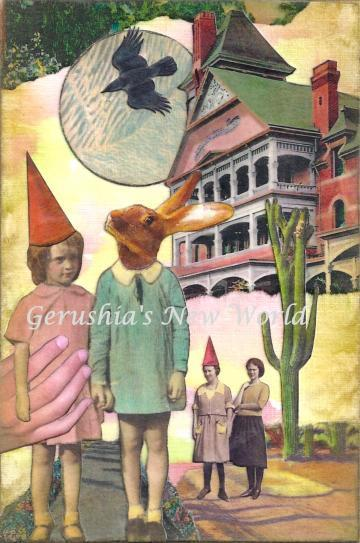 The Uninvited (Tiny Tale Art) ~ Anthropomorphic Watercolor Collage Print