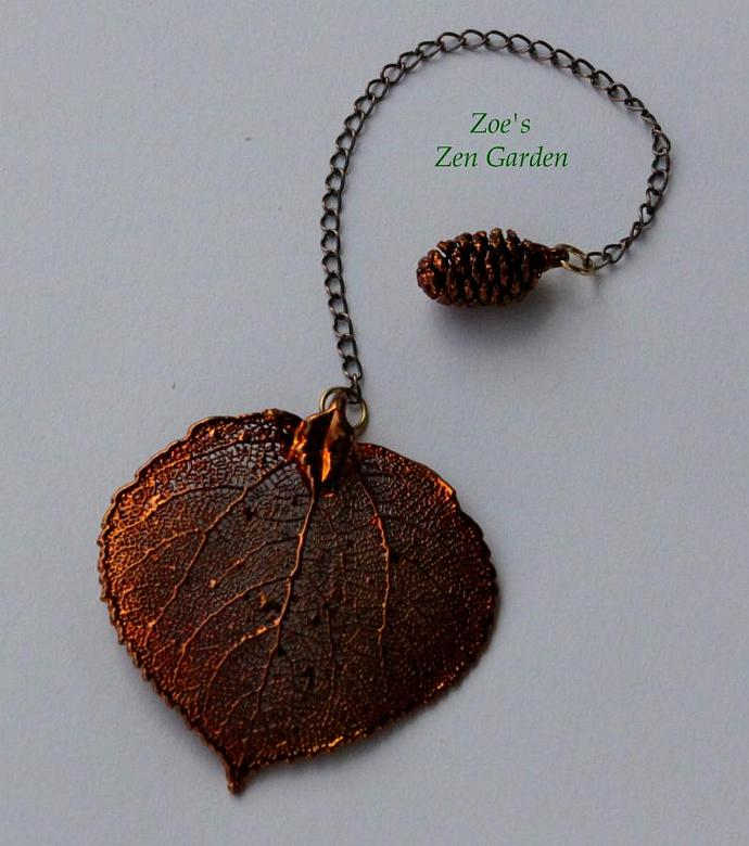 Pendulum - Real Leaf & Pine Cone in Copper (OOAK)