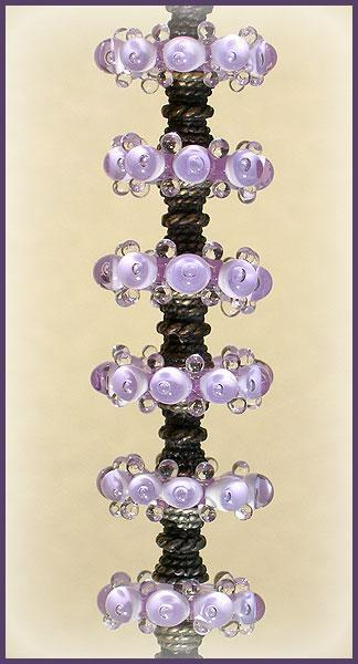 Lampwork Lavender Beads, Handmade Lampwork Bubble Glass Beads Disc Set (6)