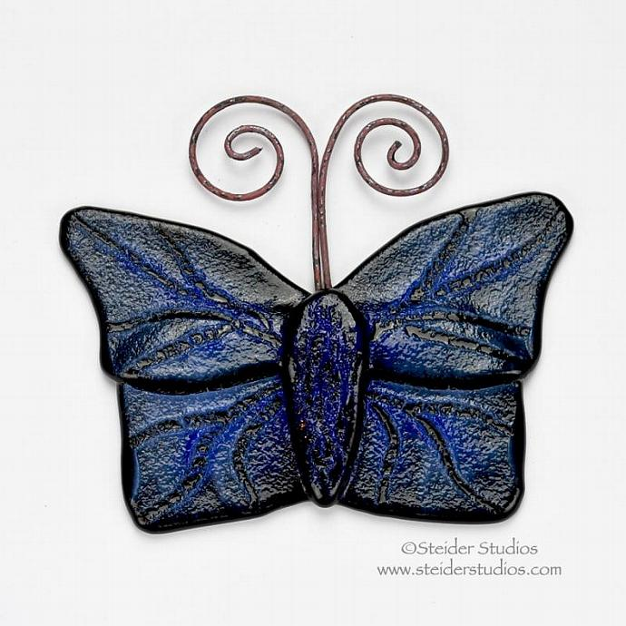 Textured Handmade Art Glass Butterfly Ornament Blue on Black for Home and Garden