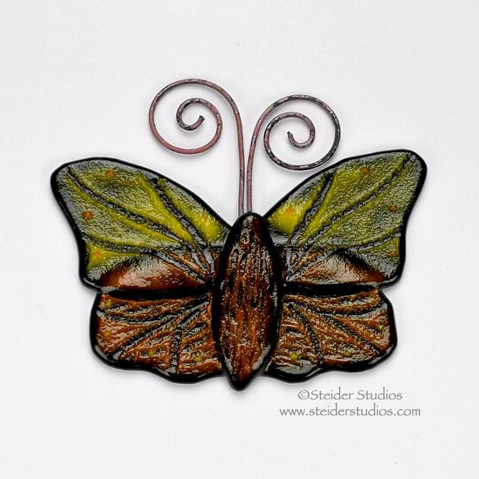 Orange and Yellow Textured Art Glass Butterfly Home Decor and Garden Art