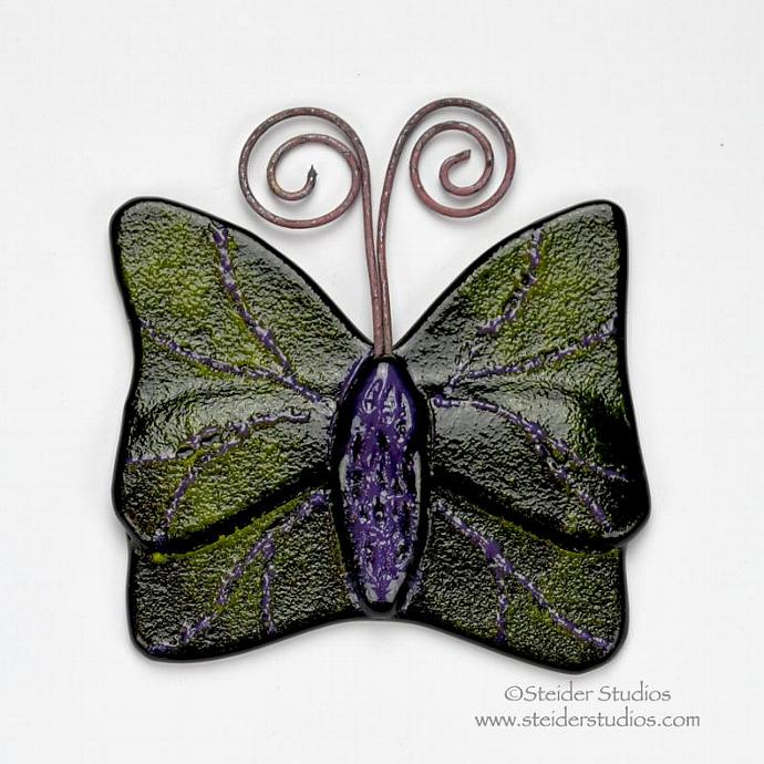 Textured Lime, Purple, Black Handmade Art Glass Butterfly Ornament