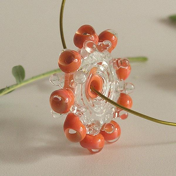 Handmade Lampwork Beads, Coral Beads, Lampwork Glass Bubble Beads Disc Set