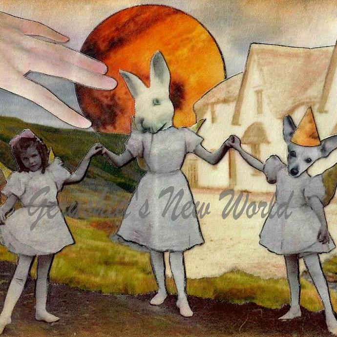 New ~ The Welcoming of The Three Fairies ~ Anthropomorphic Watercolor Collage