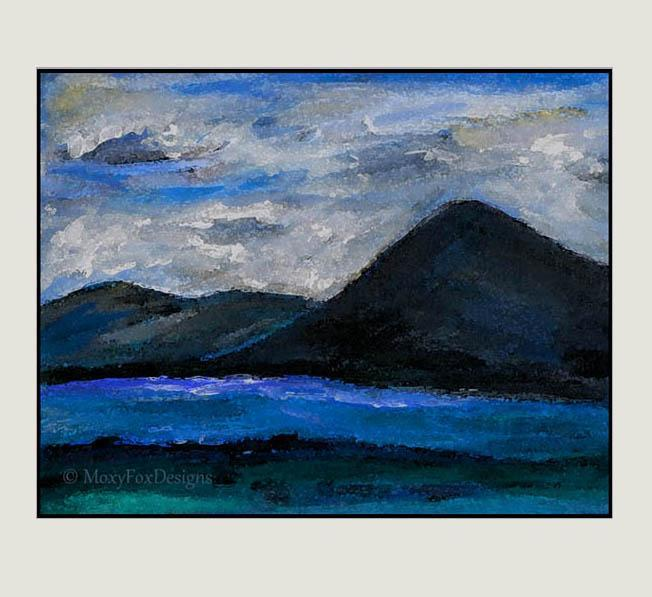 "Art – Fine Art – ""THOUGHTS IN BLUE"" Landscape, Mountains Clouds Rivers"