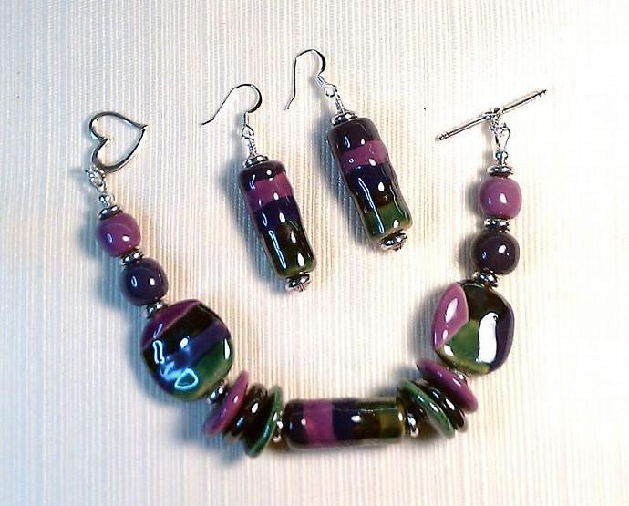Kazuri Bracelet & Earrings Set, Item #386