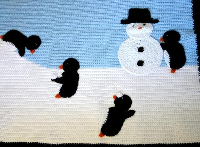 Penguin afghan PDF crochet pattern winter scene throw blanket critter bird snow