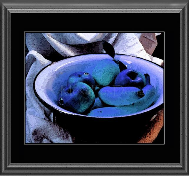 Art – JAZZY BLUE FRUIT – Contemporary Home Décor, Giclee Print,  – Free US