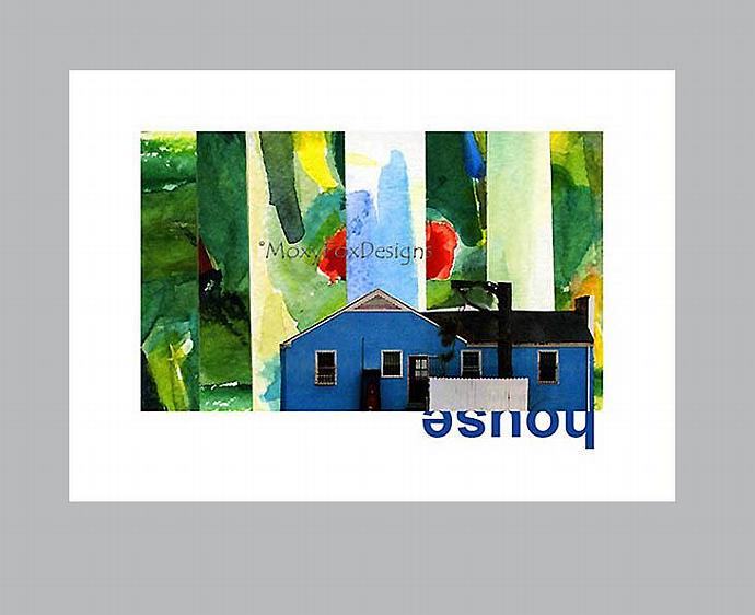 Art — LOCATION,  LOCATION Post WW II Blue House in Fantasmagorical Setting