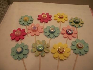 Set of 24 Paper Flowers /Button CupcakeToppers // sale