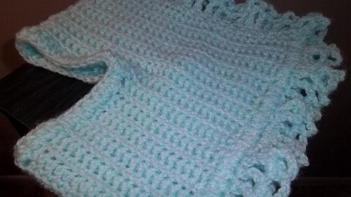 Baby Girls Handmade Crocheted Cape/Poncho/Sweater Vest (2-4 years) In Baby Blue
