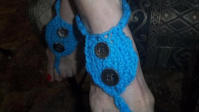 Womens' Beachcomer Sandals and Matching Bracelet in Blue