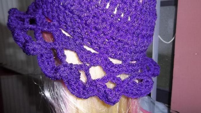 "Little Girls' Crocheted Purple Scalloped Cloche (Sized 20"" circumference)"
