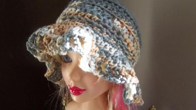 Crocheted Multi-Toned Grey, Tan, Navy And White Ruffled Cloche/Flapper/Hat For