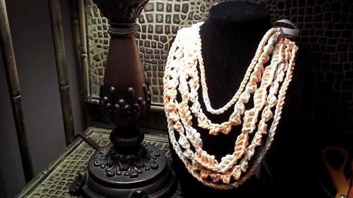 Crocheted 5-Stranded  100% Cotton Yarn in Peach & White Necklace With Ribbon