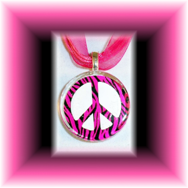 Glass Tile Pendant Hot Pink ZEBRA PEACE Sign FREE SHIPPING