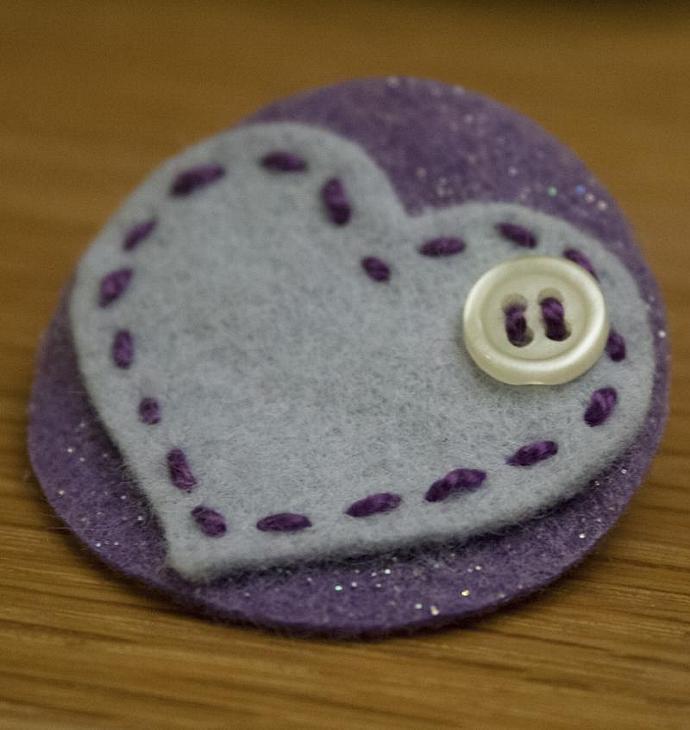Blue Heart felt pin