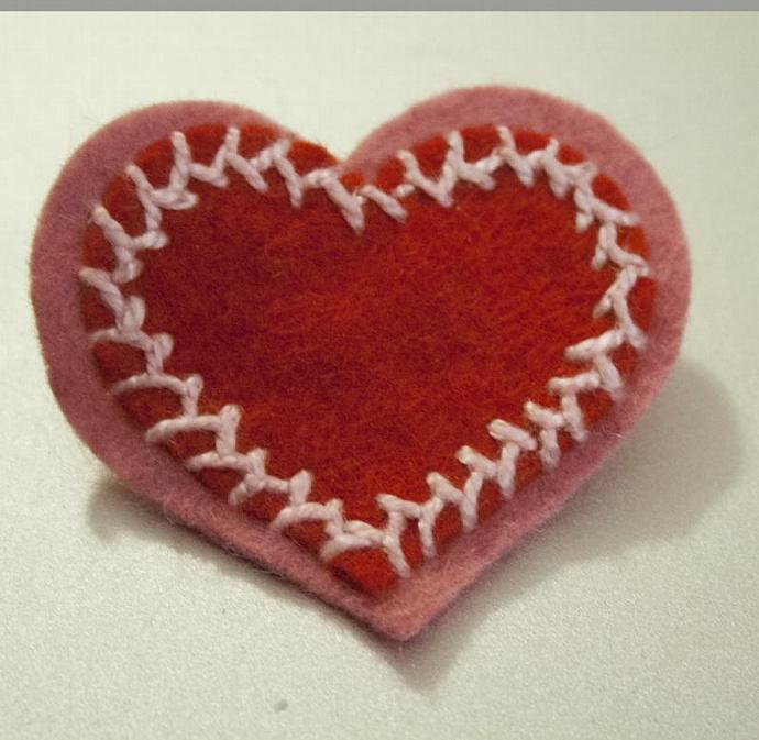 Layered Heart felt pin