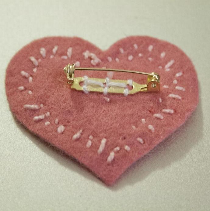 Layered Heart felt pin