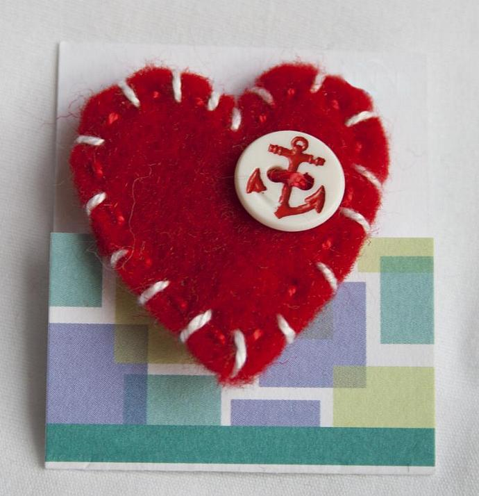 Red and White Sailor's Heart felt pin