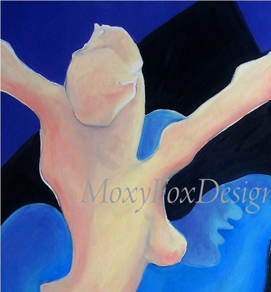 Art — SEXUAL TENSION — Fine Art Giclee Print Abstract Lovers Sex Nude Free US