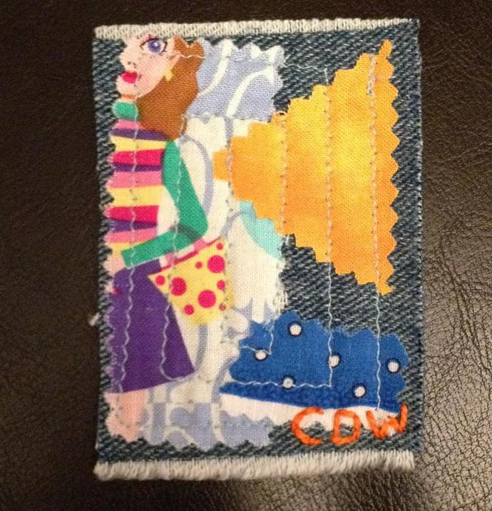 Let's Go Shopping fabric art ACEO