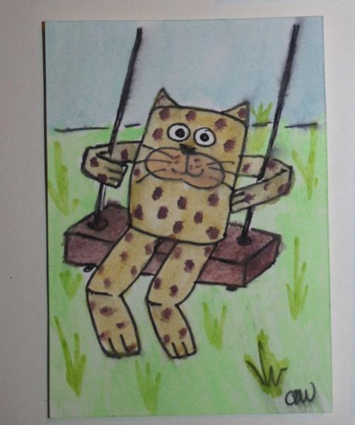 Swinging Mr. Whiskers original art ACEO
