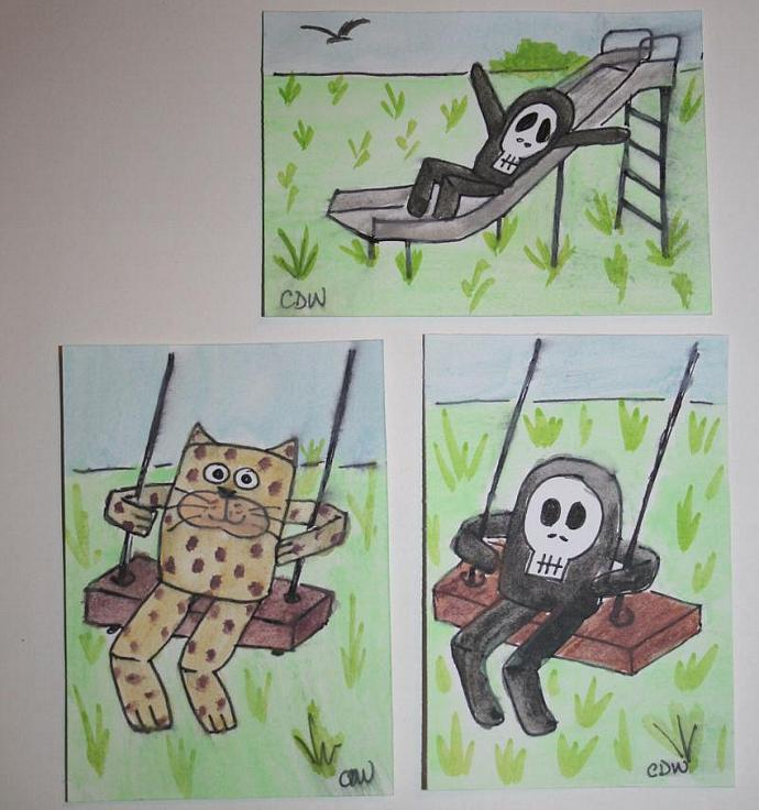 Swinging Mr. Bones original art ACEO