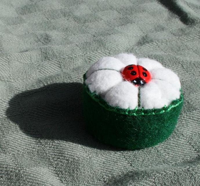 Ladybug Bottlecap Pincushion