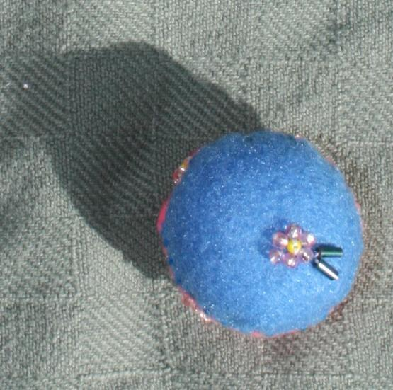 Pink Flower Bottlecap Pincushion