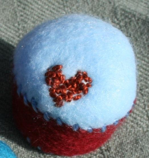 Burgundy Heart Bottlecap Pincushion