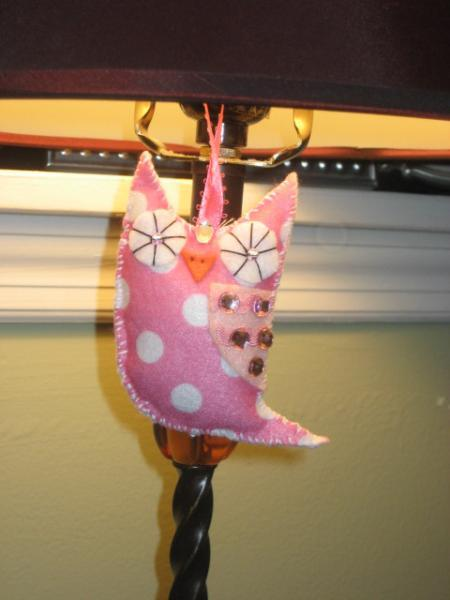 Mini Felt Owl ornament pink and white polka dot owlet