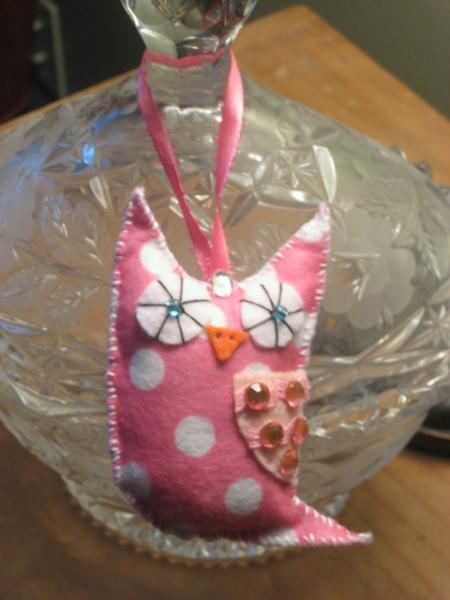 Mini Felt Owl Christmas owlet ornament pink and white polka dot