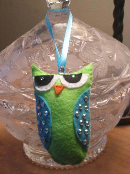 Mini Felt Owl bling owlet ornie