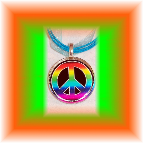 Glass Tile Pendant Tie Dye PEACE Sign FREE SHIPPING