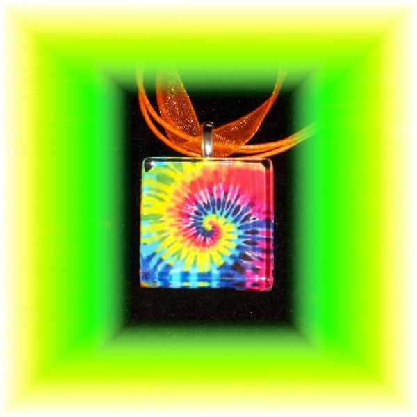 Glass Tile Pendant Tie Dye Swirl / BRIGHT Colors FREE SHIPPING