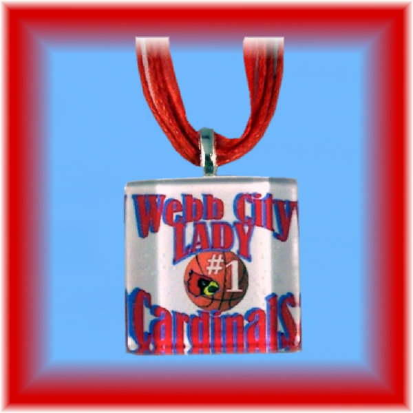 Glass Tile Pendant Webb City LADY Cards BASKETBALL FREE SHIPPING