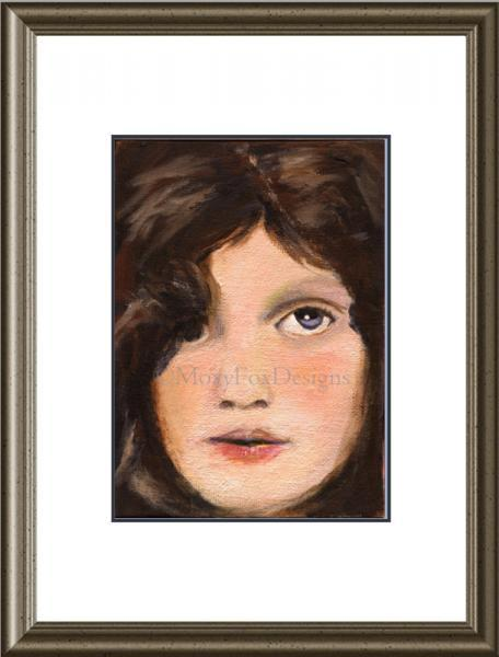 Art -- BLUE EYED CHILD Fine Art Print 5x7  Young Girl Impressionistic Childs