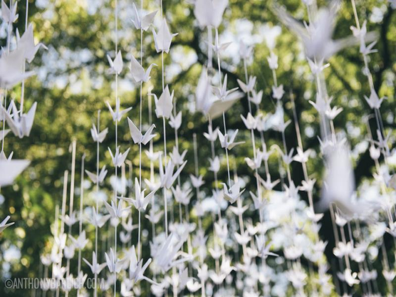 Origami white cranes garlands for wedding by for 1000 paper cranes wedding decoration
